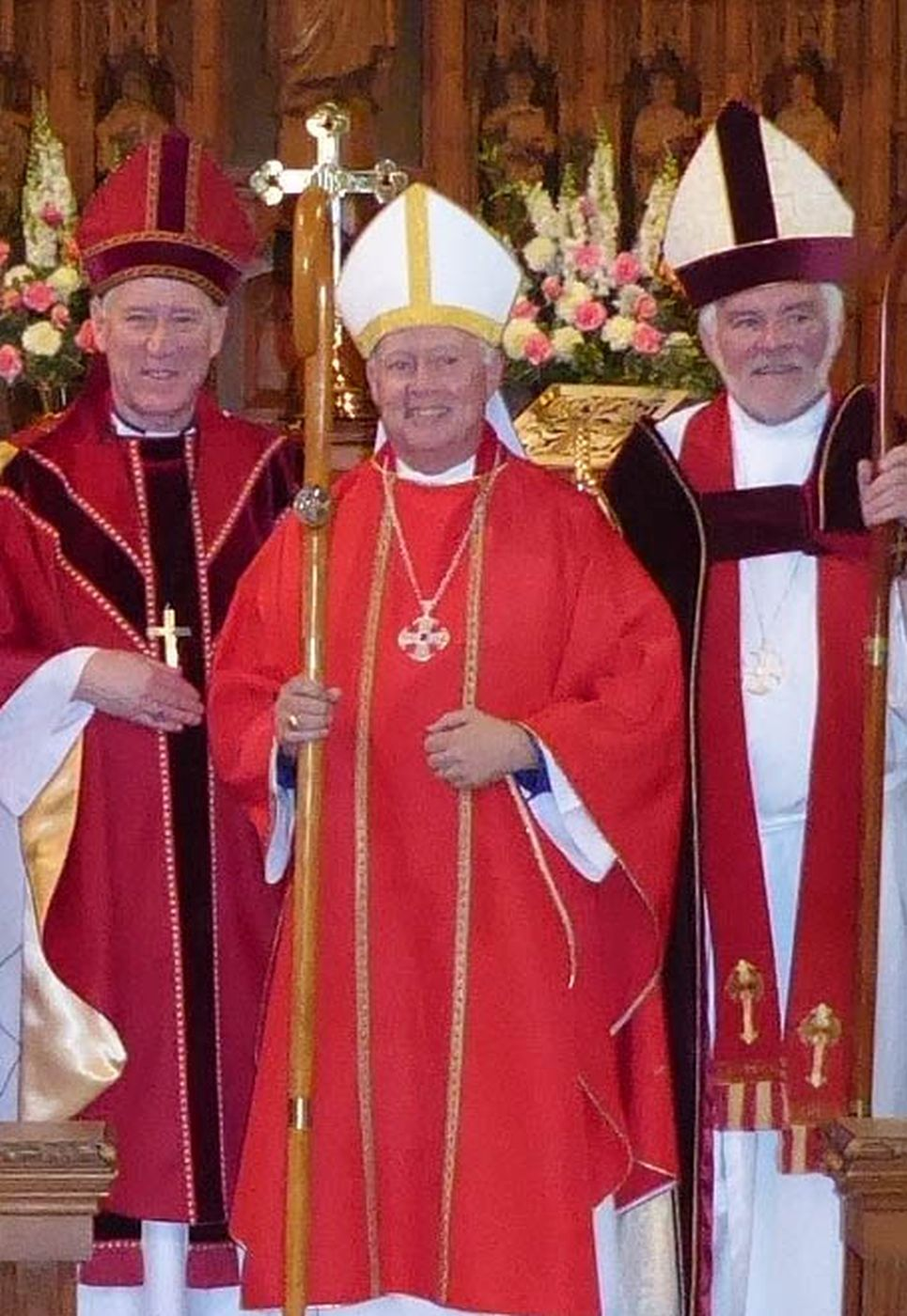 Bishop Nigel Shaw with Archbishop Fred Hiltz and former Bishop Ordinary Peter Coffin