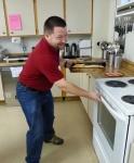 Darwin checks the oven